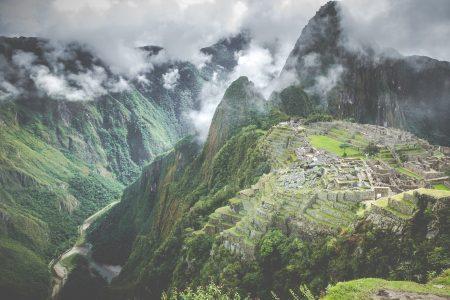 Machu Picchu covered in mist
